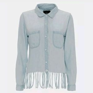 Rails Fringe Fayed Chambray Western Button Up Top
